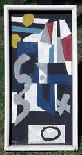 1959 Vintage HARD EDGE ABSTRACT Oil Painting MOE Geometric Machine Age Eames Era
