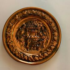 Vintage Coppercraft Guild Copper Wall Charger Children and Dog at Well