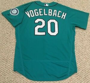 VOGELBACH size 50 #20 2018 Seattle Mariners GAME USED jersey home TEAL MLB HOLO