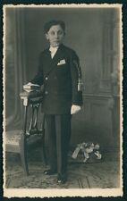 Edwardian boy Vintage Private Postcard 1st Communion Real photo little man smile