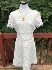"""New $448 """"Elie Tahari """" Size 8 White Ramie Floral Eyelet Embroided Summer Dress"""