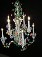 MASSIVE ANTIQUE 1940s 8 Lite Italian TOLE 2 Tiered Flower Baskets Chandelier