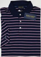 Polo Golf Ralph Lauren Short Sleeve Navy w/ Pink Stripe Shirt Mens NEW $98 NWT