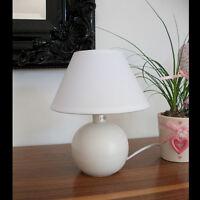Kleine Tischleuchte WEISS KERAMIK STOFF 230V E14 Tischlampe Fenster Lampe