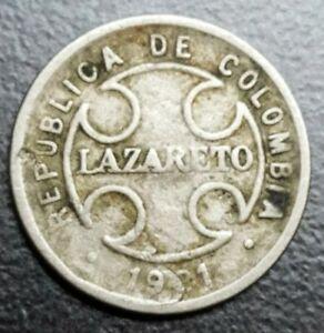 1921 COLUMBIA 2 CENTAVOS KM L10 LAZARETO LEPER CRACK VARIETY ERROR COIN
