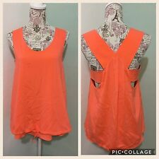 Women's CHLOE Orange Scoop Neck Stitch Detail Sleeveless Top Sz 36