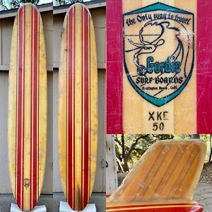 Early 1960's Gordie Surfboard with Wood Fin - Vintage Longboard Huntington Beach