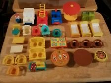 Mixed Lot Vintage Fisher Price Little People Figure vehicles furniture and more