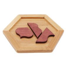 Wooden Tangram Kids Training Board Puzzles Toy Geometric Jigsaw Educational LD