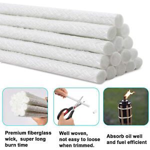 12x Long Life Fiberglass Replacement Wick for Tiki Torch,Oil Lamp,Oil Candle