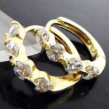 FS966 GENUINE 18K YELLOW G/F GOLD SOLID DIAMOND SIMULATED HUGGIE HOOP EARRINGS