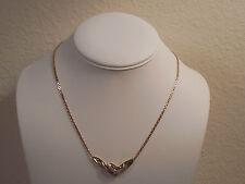"""10K Yellow & White Gold 2 Tone Diamond Pendant Chain Necklace ~ 17"""" ~ Wt 6.3 g"""
