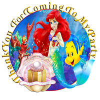 70 x Little Mermaid 37mm Party stickers favours cone labels birthday parties