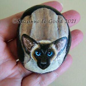 Siamese Cat art painting pebble rock stone  original design by Suzanne Le Good