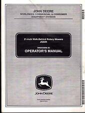 "John Deere 21"" Walk Behind Rotary Mowers Js60H Operators Manual Omgx20990 A2"