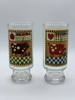 Vintage Set of 2 1981 Rodger Johnson Farm Animal Cow Pig Tall Drinking Glasses