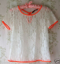 Rare! *New* Vtg Floral Lace Neon Short-Sleeve T-Shirt Top Pink-Red White-Cream