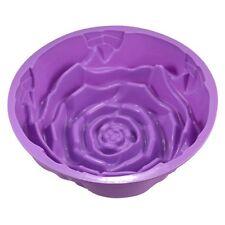 """9"""" Silicone Rose Flower Birthday Cake Bread Tart Flan Baking Mould Tin Bakeware"""