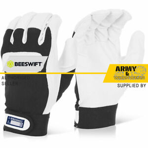 Click 2000 Drivers Work Premium Leather Gloves Adjustable Cuff Mens All Sizes