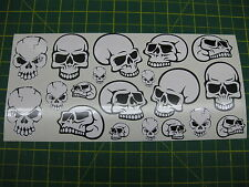 SHEET OF 19 SkULL STICKERS BMX CAR MOTORBIKE SCOOTER ALL MODELS