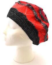 Winter Apt.9 Women Black Red Black Shiny Fashion Warm New Beret Hat Knit 8644