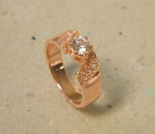 Women's Rose Pink Gold Plated Wedding Band Fashion Ring CZ Size 7