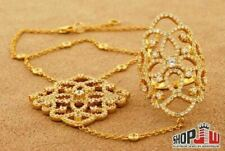 Ladies Italian .925 Sterling Silver CZ Ring Hand Pendant Set Fancy Design Yellow