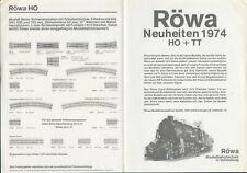 catalogo RÖWA 1974 Modellbahntechnik Neuheiten HO + TT          D   aa