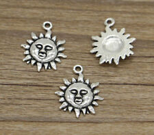 10 Celestial Sun Face Pagan Astrology Mythical Antique Silver Charms
