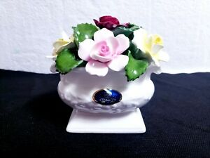 Aynsley England Hand Modelled & Painted Bone China Roses Floral Bouquet Figurine
