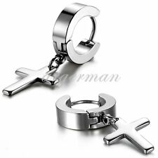 2pcs Silver Stainless Steel Hoop Cross Huggie Hinged Mens Womens Stud Earrings