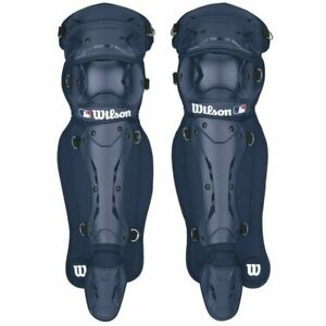 Wilson Max motion Baseball Adult catcher's Shin Guards Navy 17 inches