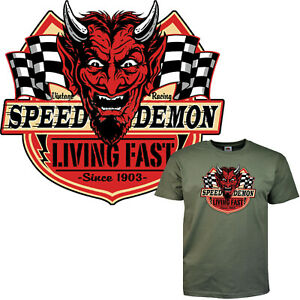 Motorsport T-Shirt Gearhead Drag Racing Devil Speedway Hot Rod Slogan *1149 oliv