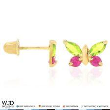 14K Yellow Gold Peridot & Ruby Butterfly Screw Back Stud Kid Earrings