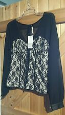 """New With Tags Gorgeous Black Corset Style Lacey Top Size 12 Chest 34""""-36"""" Lovely"""