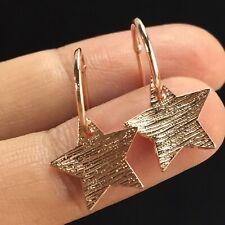 Rose Gold Star Hoop Tiny Earrings Dangle Fashion Small Mini Cute Vintage Girl