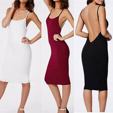 Women Casual Camisole Long Tank Tops Spaghetti Strap Slip Mini Party Dress