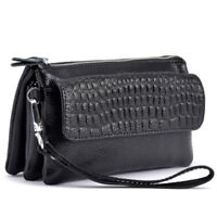 Women Genuine Cowhide Leather Cross Shoulder Bag Clutch Handbag Embossing New