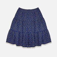 Vintage 70s Navy Blue Floral Tiered Ruffle Boho Peasant Knee Length Short Skirt