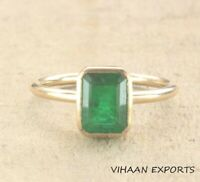 925 Sterling Silver Natural Colombian Emerald Ring Bezel Set Handmade Ring