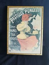 "Vintage Advertising Poster Pastilles Poncelet Cheret French Framed 8""x11"""