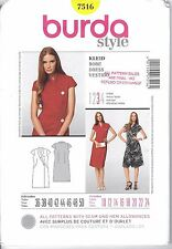 Burda Pattern 7516 Dress Wrap Shawl Collar Buttons 10 12 14 16 18 20 22 24