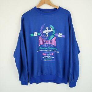 Vintage 90's Graphic Gym Logo sweatshirt Retro SZ L-XL (E9788)