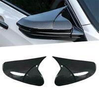 2Pcs Side Mirror Cover Trim Cap For Honda Civic 10th 2016-18 Carbon Fiber Style