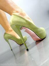 MORI ITALY PLATFORM HIGH HEEL PUMPS SCHUHE SHOES SUEDE LEATHER GREEN VERDE 38