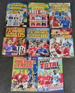 8x Merlin Premier League Empty Sticker Albums.2002 2003 2004 2005 2006 2007 2008