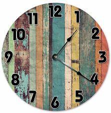 "YELLOW GREEN ORANGE Wood Clock - Large 10.5"" Wall Clock - 2056"