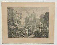 "ANTIQUE ENGLISH ENGRAVING BY WILLIAM HOGARTH ""SOUTHWARK FAIR"" 1733   P92"