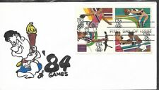 USA 1983 HAND PAINTED 84 SUMMER OLYMPICS RICHARD ELLIS ANIMATED FIRST DAY COVER