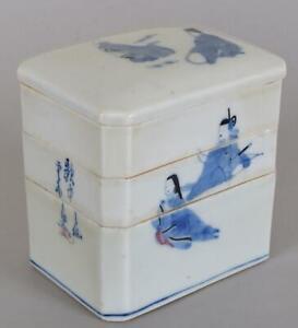 Japanese Porcelain Blue White Peach Glaze Signed Jubako Bento Box Antique